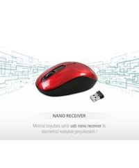 Everest SMW-666 Usb Kırmızı 2.4Ghz Optik Wireless Mouse